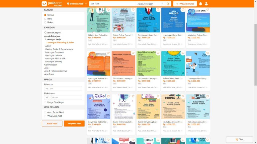 iklan lowongan kerja di Jualo