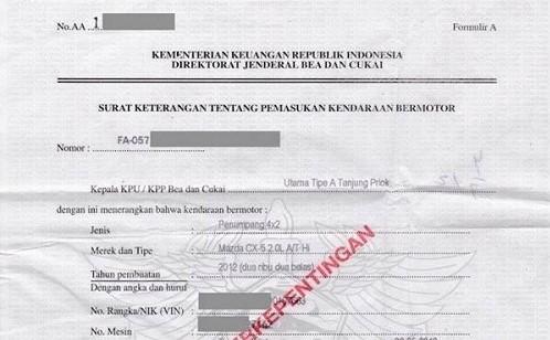 dokumen impor mobil